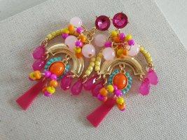 Boho Hippie Ohrring Bunt Pink Statement Ohrschmuck Schmuck