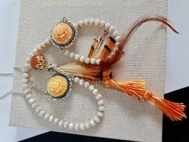 Boho Kette Perlen Rose Orange Feder Fransen DIY