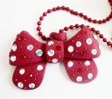 Boho Kette Schleife Perlen Anhänger NEU Kette Statement Schmuck Schleifenkette Weihnachten