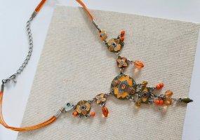 Boho Kette Verspielt Perlen Orange Schmuck Halskette