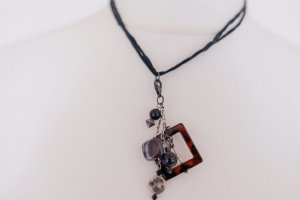 Boho Scandi shabby Halskette Choker silber Leder braun schwarz