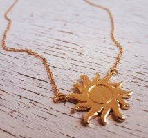 Boho Vintage Sonne Halskette in Gold