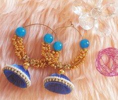 Kolczyk z perłą złoto-niebieski neonowy