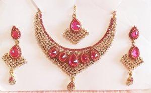 Aus Indien Zestaw biźuterii złoto-różowy neonowy