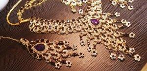 Aus Indien Ketting goud-lila