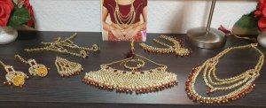 Aus Indien Naszyjnik złoto-ciemnoczerwony