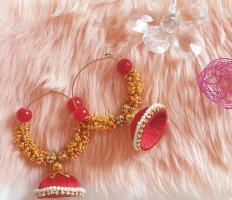 Kolczyk z perłą złoto-czerwony