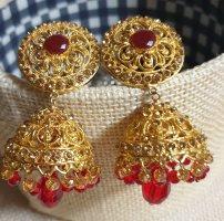 Aus Indien Wiszące kolczyki złoto-czerwony