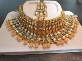 Aus Indien Naszyjnik złoto-brzoskwiniowy
