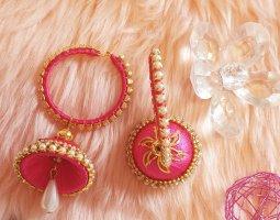 Kolczyk z perłą biały-różowy