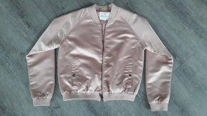 Bomberjacke im Biker-Stil Satin Jacke rosa Jacket Grease-Look Review Gr. M / 38, NEU ohne Etikett