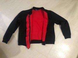 Giacca bomber nero-rosso Tessuto misto