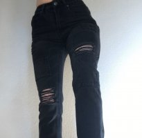 boohoo tipped black denim jeans high waisted