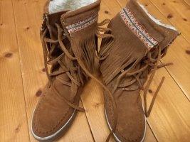 Laarzen met bont bruin-neonrood Gemengd weefsel