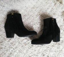 Boots/Schuhe/Stiefeletten mit Fransen aus Veloursleder