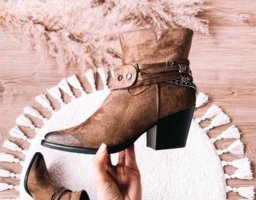 Lucky Shoes Western Booties brown-khaki