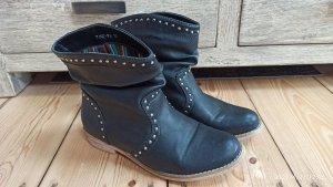 Wciągane buty za kostkę czarny-srebrny
