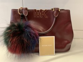 Bordeauxrot Original Michael Kors Handtasche mit goldenen Details aus Echtleder