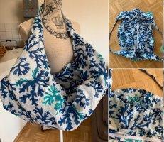 Antica Sartoria Pouch Bag turquoise-white cotton