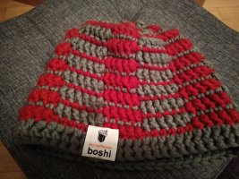 boshi Crochet Cap grey-brick red
