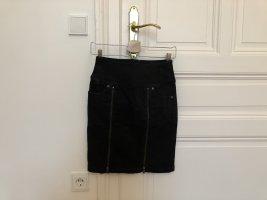 Boss Orange Jeansrock, schwarz mit Reißverschlüssen, Casual-Look