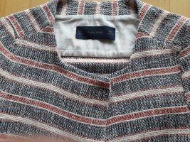 Boucle Blazer Jacke von Zara Basic Gr. L rot creme dunkelblau Streifen