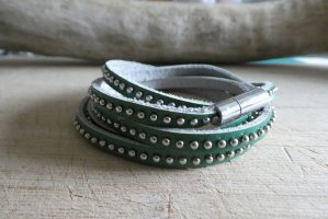 Lederen armband groen-zilver Leer
