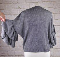 Boxy Lurex Silberfarben Strick Pullover H&M Größe S 36 Rüschen Ärmel Party Pulli Kurzarm Oversize