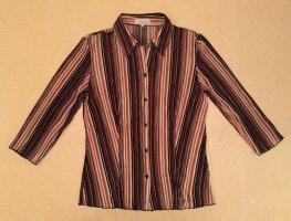 braun-beige-orange-gestreifte Bluse mit Knöpfen und Kragen, 3/4 ärmlig, Gr. 42