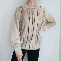 Braun Beige schwarz 52 Oversize Pullover Hoodie Pulli Sweater Top Oberteil Muster True Vintage