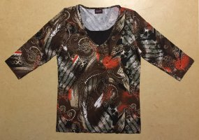 braun-buntes Shirt mit Motiv, 3/4 ärmlig, Gr. M