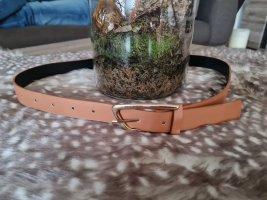 Cinturón de cuero de imitación color oro-camel