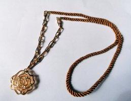 Braun Goldfarbene cord Seil Kette mit Rosen Anhänger