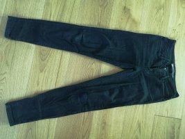 braune beschichtete Hose Skinny Jeans in Lederoptik Mango 34