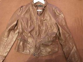Attentif Leather Jacket cognac-coloured