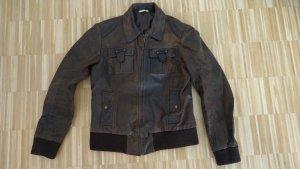 Braune Lederjacke, weiches Leder, Promod