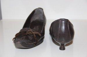 braune Pumps mit kleinem Absatz, Echtleder, Größe 37