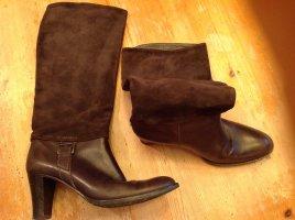 Wysokie buty na obcasie brązowy Skóra