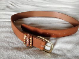 b.p.c. Bonprix Collection Cinturón de cuero de imitación marrón-color plata