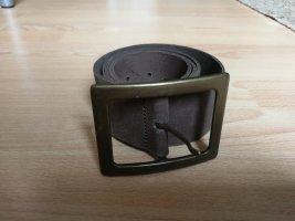 Pieces Cintura di pelle oro-marrone scuro