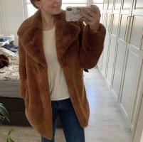 Zara Manteau en fausse fourrure brun