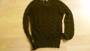 Clockhouse Crochet Sweater dark brown cotton