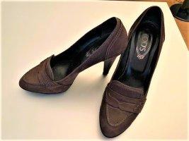Tods Chaussure à talons carrés brun foncé cuir