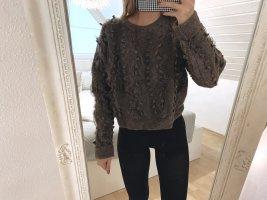 Brauner Strickpullover mit Tüll | Zara