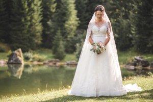 Robe de mariée multicolore tissu mixte