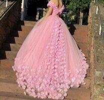 Vestido de novia rosa claro tejido mezclado