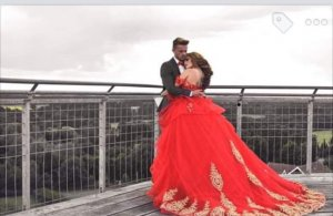 Wedding Dress red-gold-colored