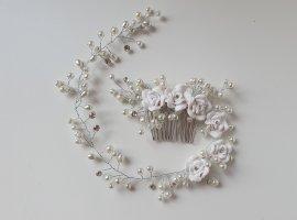Brautschmuck Haarschmuck Haarband Haarstecker ivory mit Perlen & Strass 35 cm NEU/OUTLET