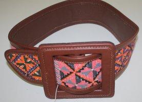 breiter edler braun/bunter Original InWear echt Leder/Textil Trend Gürtel, 70 cm