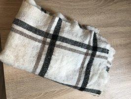 Breiter Schal kariert weiß beige und schwarz